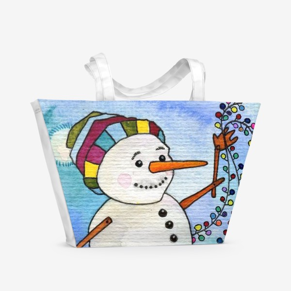 Пляжная сумка «Снеговик и гирлянда»
