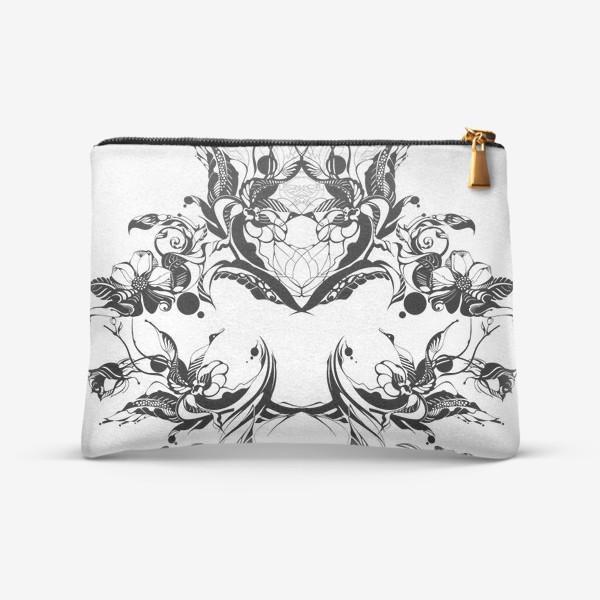 Косметичка «Абстрактный узор из цветов на белом фоне, венок в стиле модерн»