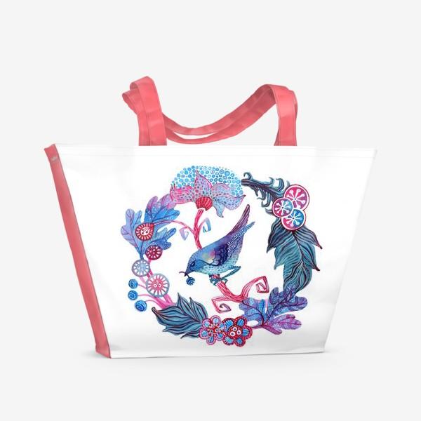 Пляжная сумка «Птичка в венке акварельная»