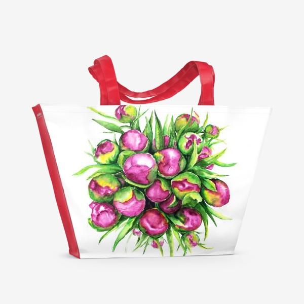 Пляжная сумка «Бутоны пионов»