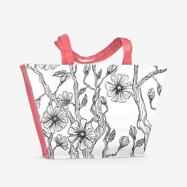 Пляжная сумка «Цветы цикория»
