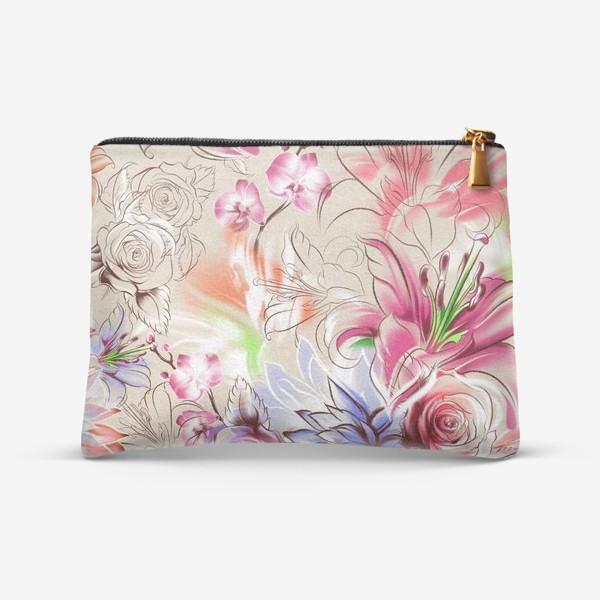 Косметичка «Бесшовный паттерн с лилиями, орхидеями и розами»