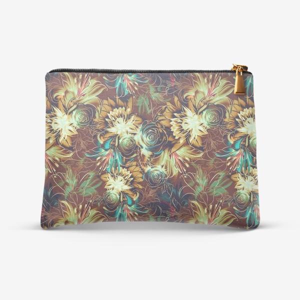 Косметичка «Абстрактный бесшовный паттерн с цветами. Летняя текстура с лилиями, розами, ромашками и хризантемами»
