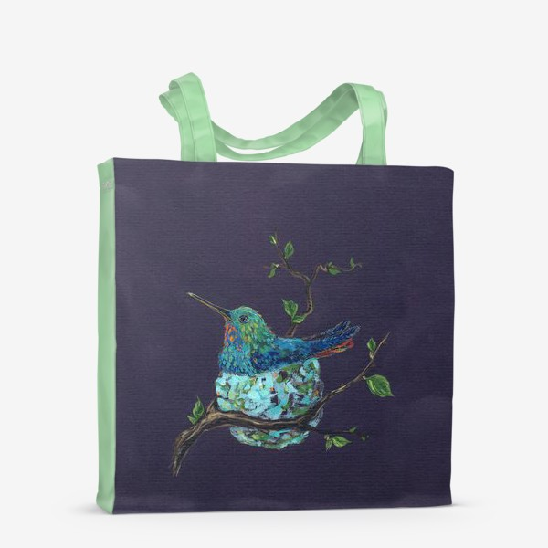 Сумка-шоппер «колибри в гнездышке»