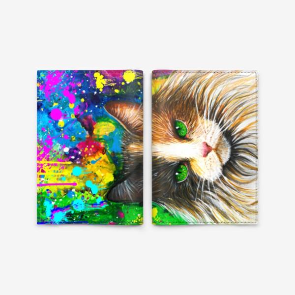 Обложка для паспорта «красочный кот »