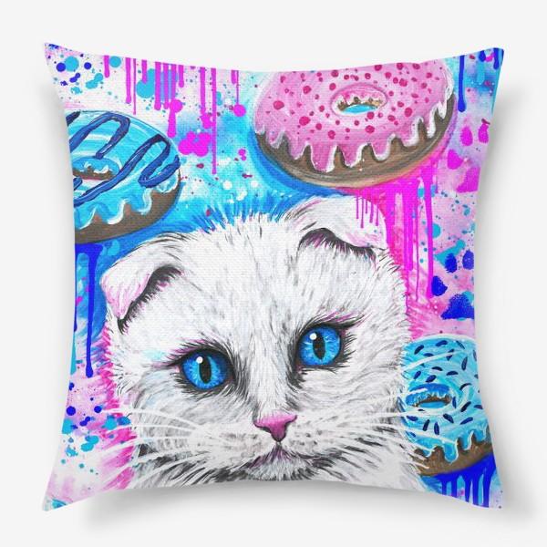Подушка «Кошка с пончиками »