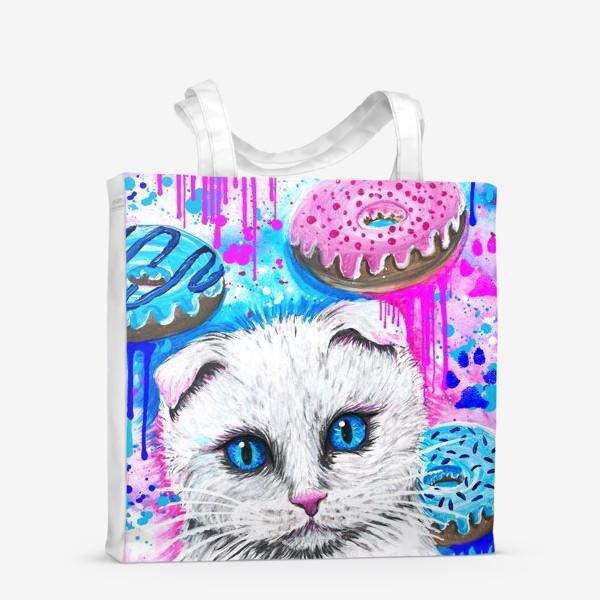 Сумка-шоппер «Кошка с пончиками »