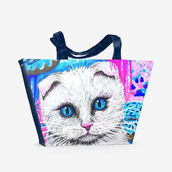 Пляжная сумка «Кошка с пончиками »
