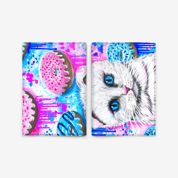 Обложка для паспорта «Кошка с пончиками »