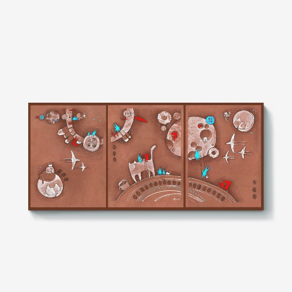 Холст «Кофейная вселенная: Коты, зайцы, лисы, сладости и кофе»