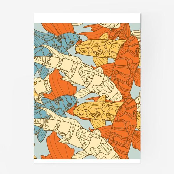 Постер «Декоративная фантазия на тему карпов кои»
