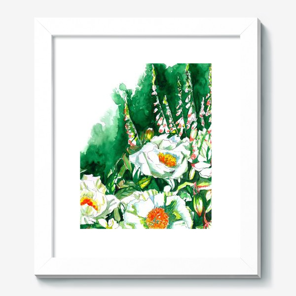 Картина «Цветы шиповника и водосбор»