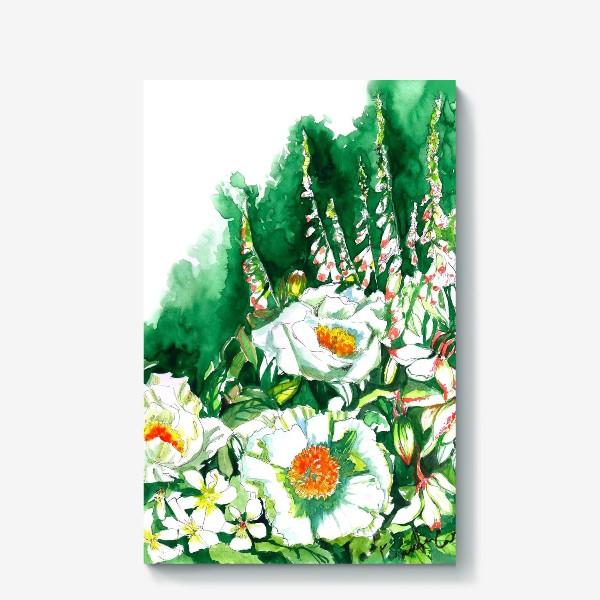 Холст «Цветы шиповника и водосбор»