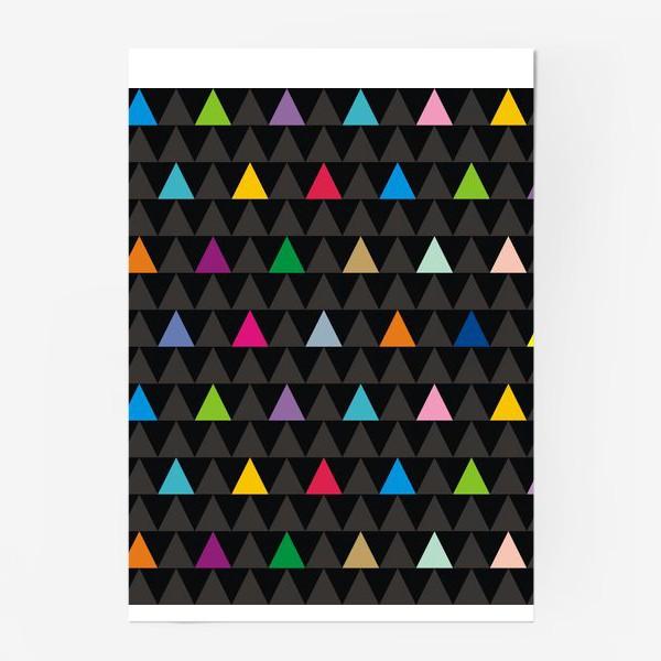 Постер «Цветные треугольники на черном фоне»