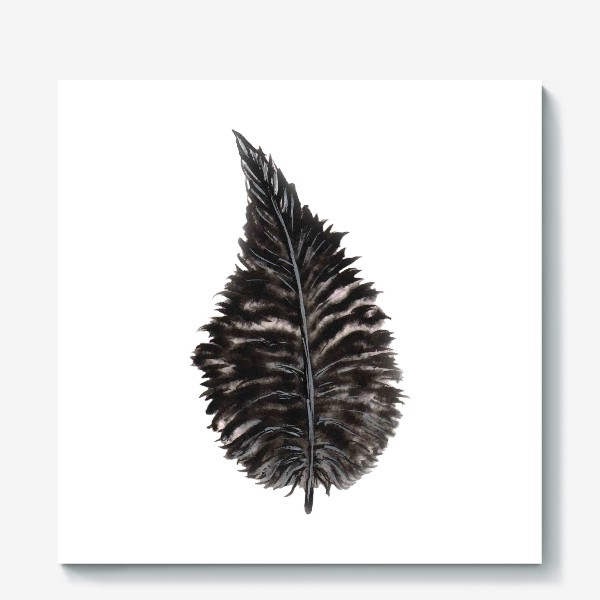 Холст «Black Watercolor Feather»