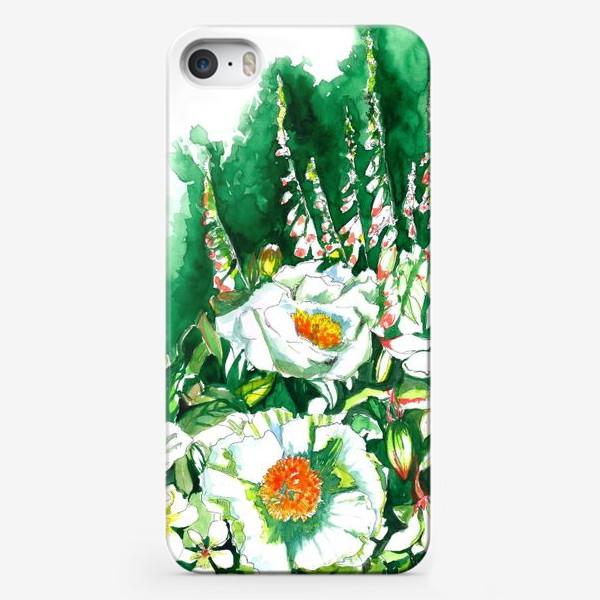 Чехол iPhone «Цветы шиповника и водосбор»