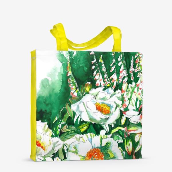 Сумка-шоппер «Цветы шиповника и водосбор»