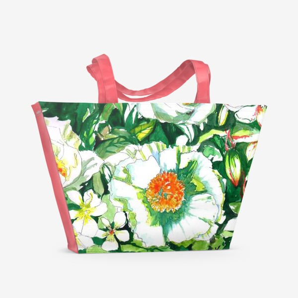 Пляжная сумка «Цветы шиповника и водосбор»
