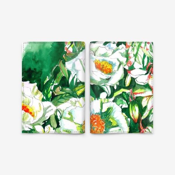 Обложка для паспорта «Цветы шиповника и водосбор»