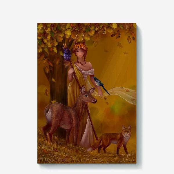 Холст «Девушка нимфа - осень»