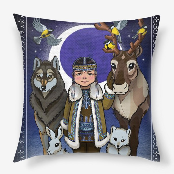 Подушка «Эвенкийка и животные»