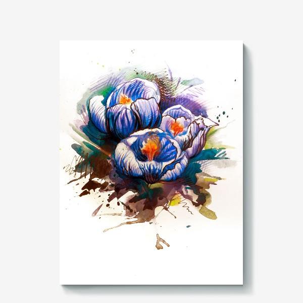 Холст «Акварельные цветы»