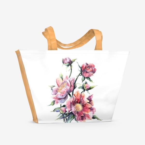 Пляжная сумка «Цветы Пионы»