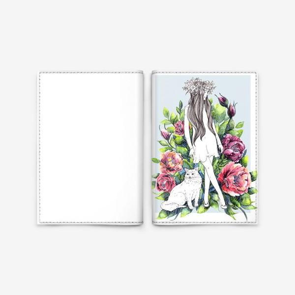 Обложка для паспорта «Девушка и кот в цветах»