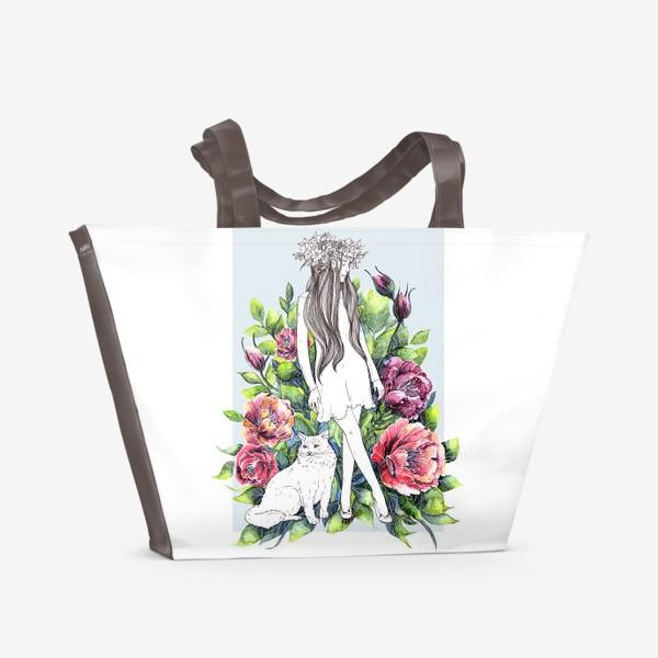 Пляжная сумка «Девушка и кот в цветах»