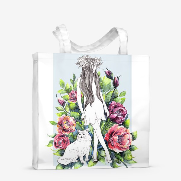Сумка-шоппер «Девушка и кот в цветах»
