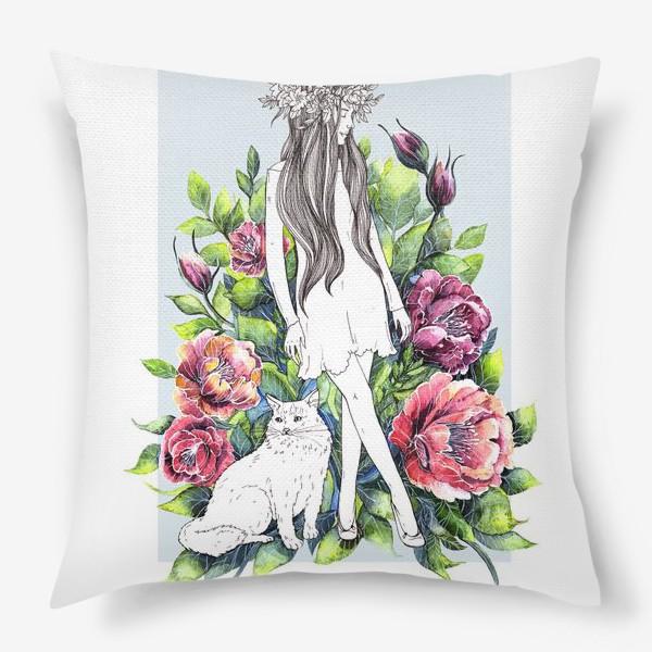 Подушка «Девушка и кот в цветах»