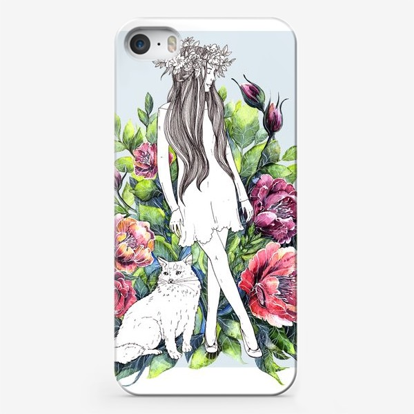 Чехол iPhone «Девушка и кот в цветах»