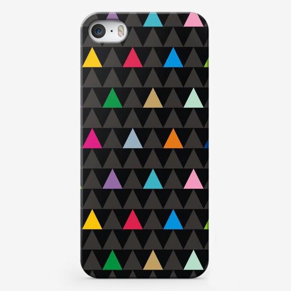 Чехол iPhone «Цветные треугольники на черном фоне»