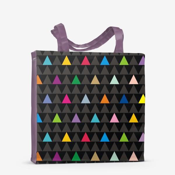 Сумка-шоппер «Цветные треугольники на черном фоне»