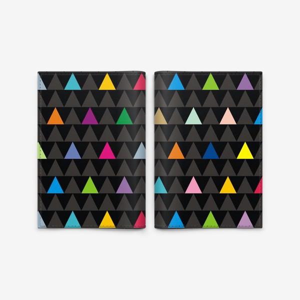Обложка для паспорта «Цветные треугольники на черном фоне»