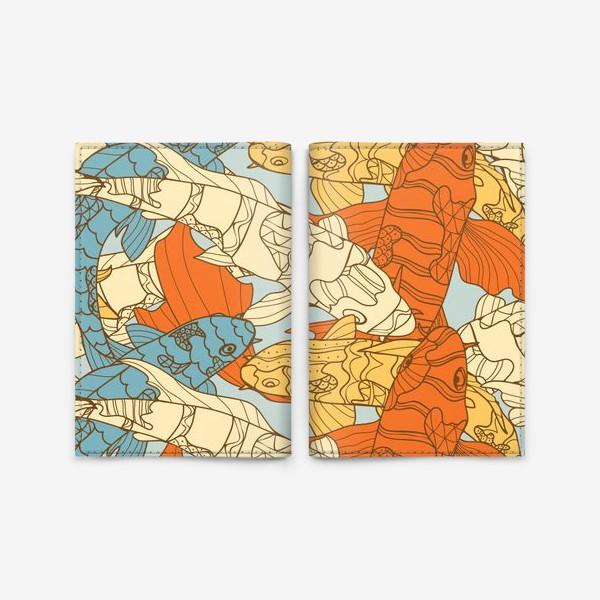 Обложка для паспорта «Декоративная фантазия на тему карпов кои»