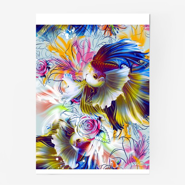 Постер «Золотая рыбка и цветы»