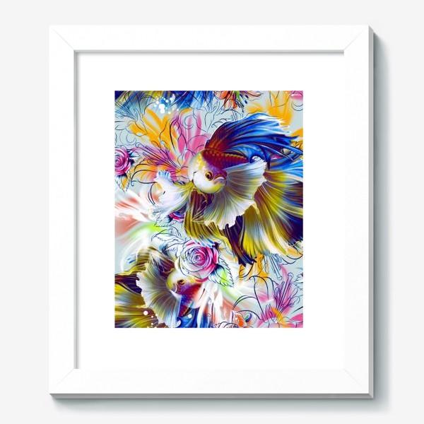 Картина «Золотая рыбка и цветы»