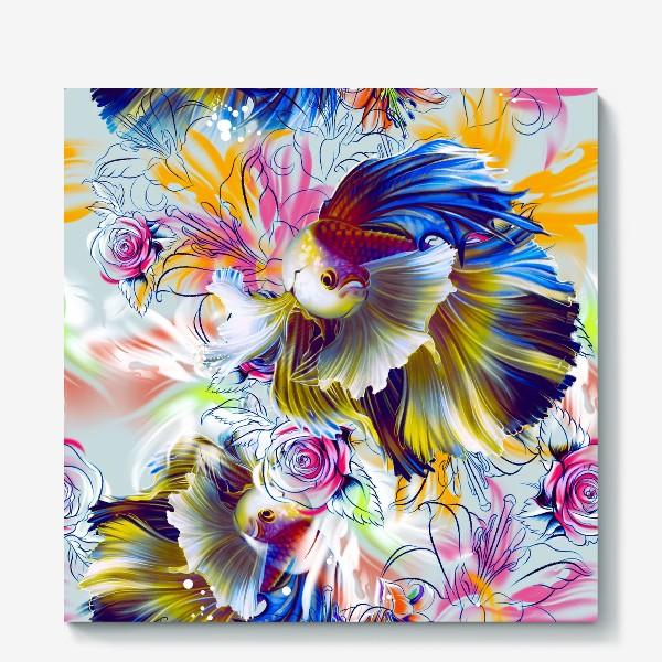 Холст «Золотая рыбка и цветы»