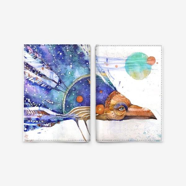 Обложка для паспорта «Космический Ворон, индейский шаман»