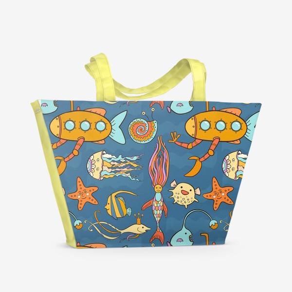 Пляжная сумка «Субмарина и подводный мир»