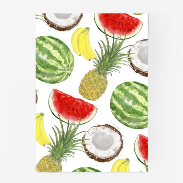 Постер «Фрукты . Ананас,арбуз,банан,кокос»