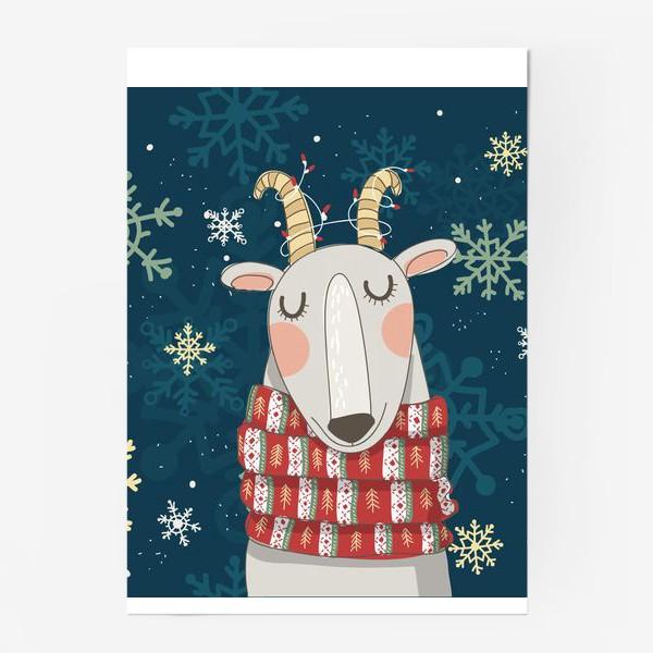 Постер «Мечтательная коза в шарфе с елочками. Паттерн из снежинок на фоне. »