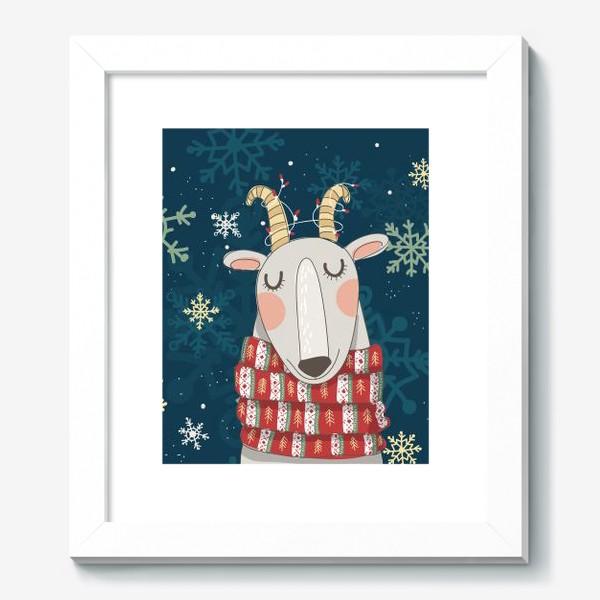 Картина «Мечтательная коза в шарфе с елочками. Паттерн из снежинок на фоне. »