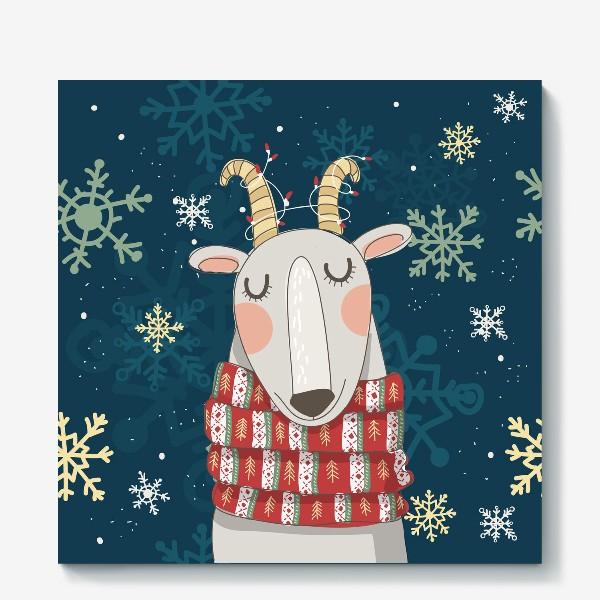Холст «Мечтательная коза в шарфе с елочками. Паттерн из снежинок на фоне. »