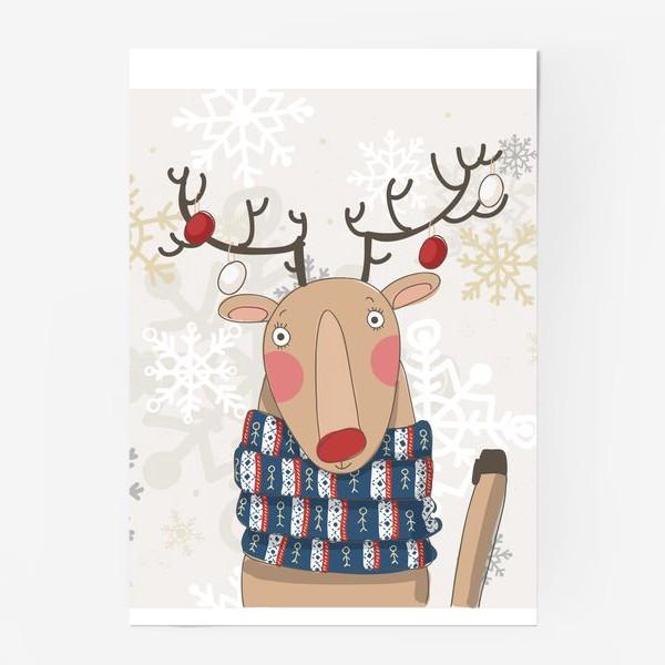 Постер «Веселый и добрый Олень в шарфе с людьми. Зима. Снежинки»