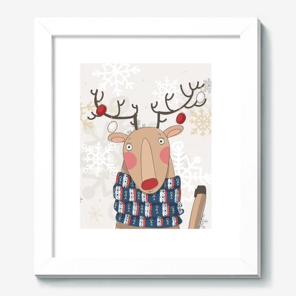Картина «Веселый и добрый Олень в шарфе с людьми. Зима. Снежинки»