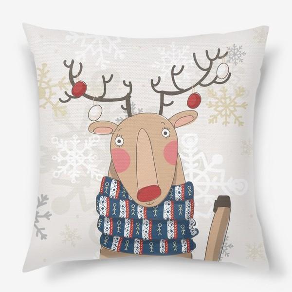 Подушка «Веселый и добрый Олень в шарфе с людьми. Зима. Снежинки»