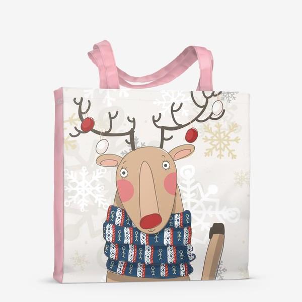 Сумка-шоппер «Веселый и добрый Олень в шарфе с людьми. Зима. Снежинки»