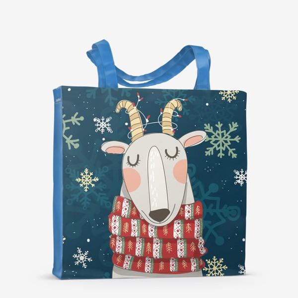 Сумка-шоппер «Мечтательная коза в шарфе с елочками. Паттерн из снежинок на фоне. »